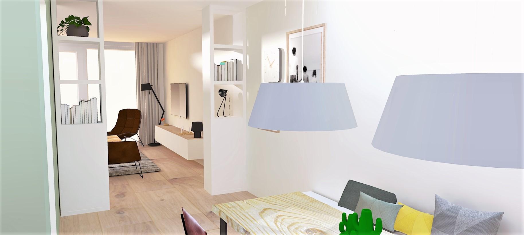 woonkamer + eetkamer rendering